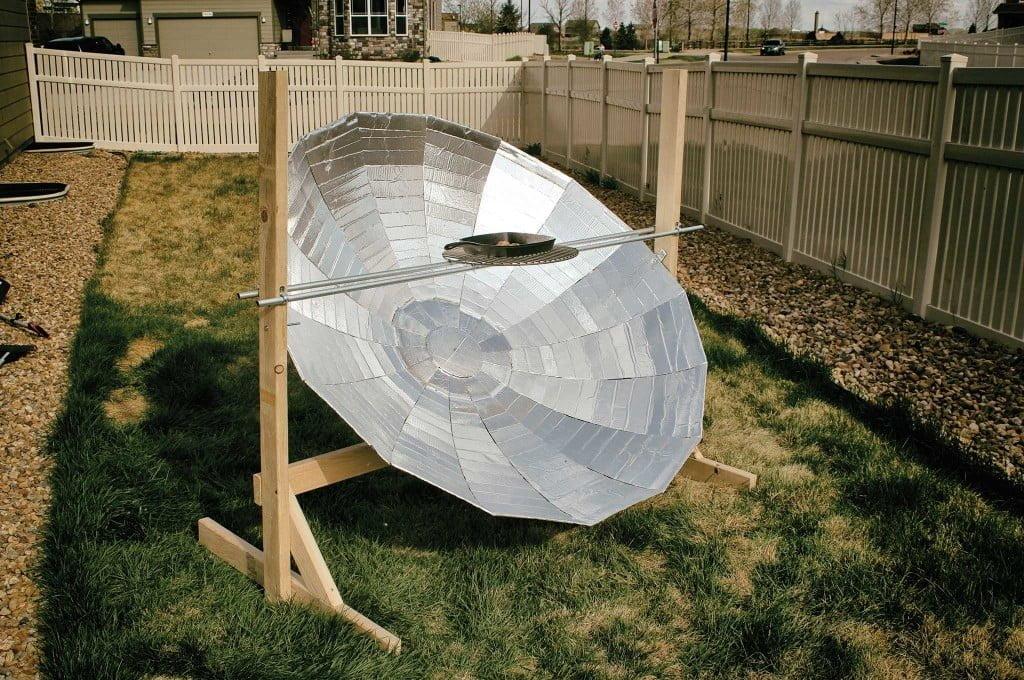 cocina solar casera con antena parabolica