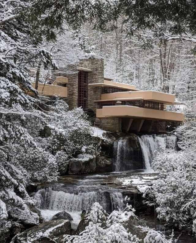 Residencia Kaufmann Casa De La Cascada Frank LLoyd Wright Nieve
